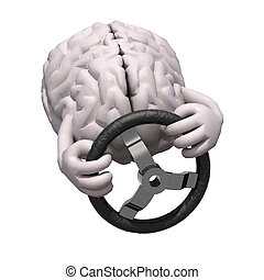 human brain with arms and steering wheel car
