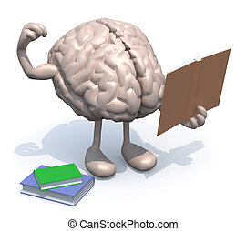 human brain with arms, legs and many books on hand, culture...