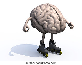 human brain with arms, legs and rollerskates