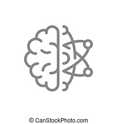Human brain with atom line icon. Engineering, scientific technology thinking symbol