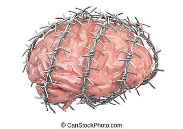 Human Brain with barbed wire. Freedom of thought prohibition concept, 3D rendering