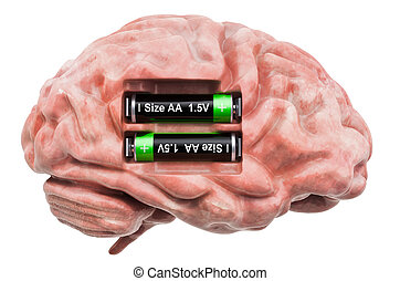 Human brain with batteries. Recovery and treatment concept....