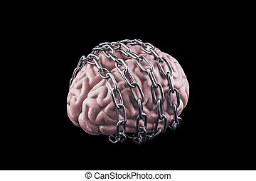 Human brain with chain. Free your mind concept