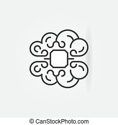 Human brain with chip concept icon in thin line style