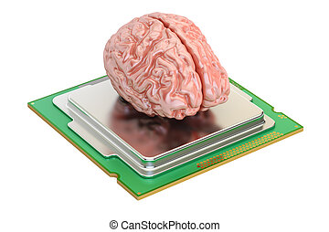 Human brain with computer processor, 3D rendering