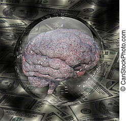 Human Brain with Currency Background