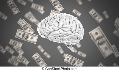 Human brain with dollar bills in the background
