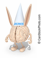 human brain with dunce ears and hat, 3d illustration