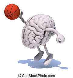 brain with his arms and legs playing basketball