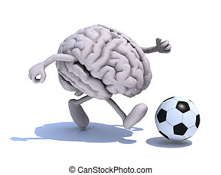 human brain with his arms and legs running with a football