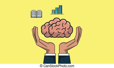 Human brain with knowledge on hands HD animation