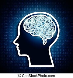 Human brain with set of gears on matrix number background