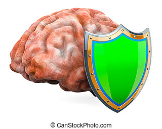 Human brain with shield, brain protect concept. 3D rendering...