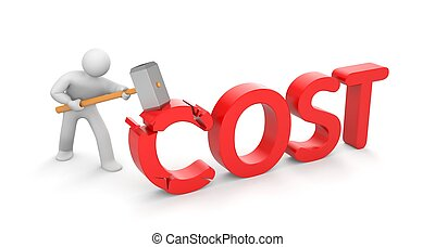 Human breaks word cost. Save your money - Business concept. ...