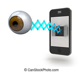 human brown eye comes off the screen of a smartphone, 3d...