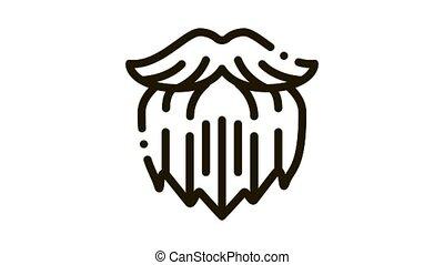 Human Brutal Bushy Beard Icon Animation. black Human Brutal Bushy Beard animated icon on white background