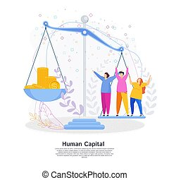 Human Capital Concept. People and money on the scales. The...