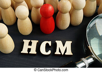 Human capital management HCM concept. Figurines and...