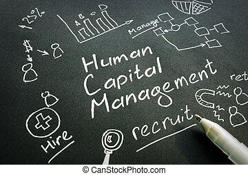 Human Capital Management HCM handwritten sign on a black...