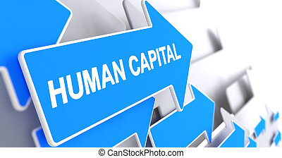 Human Capital - Message on Blue Pointer. 3D.