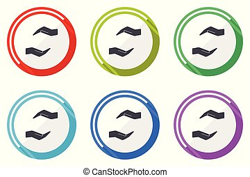 Human care hand flat vector web icon set, colorful round internet buttons in eps 10 isolated on white background