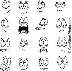 Human cartoon eyes emoticons symbols