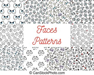 Human cartoon faces patterns