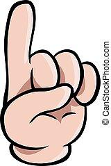 Human cartoon hand showing one finger
