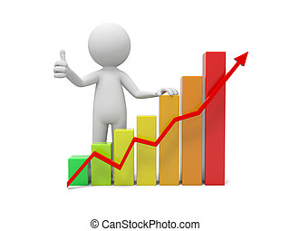 Human character and graph - 3d people with bar chart and red...