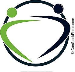 Human character logo.  Health care logo sign.