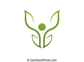 Health care logo. Leaf logo sign