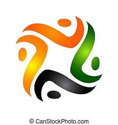 Human character vector logo concept illustration. Abstract man figure logo