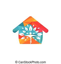 Human character with leaves and house logo design. Natural home care logo.