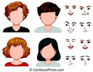 Human characters with different faces illustration