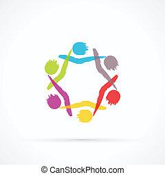 Human circle abstract vector logo
