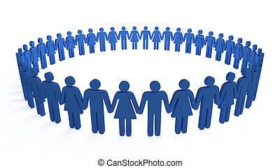 human circle - 3d people holding hands in a big circle