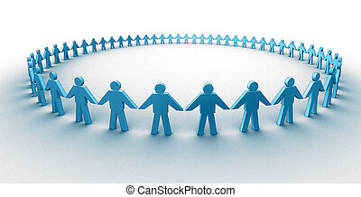 Human circle - 3d people in a big circle