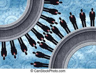 Human CogWheel - Business men as cogs in a cog wheel....