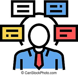 human comprehends tasks color icon vector illustration - ...