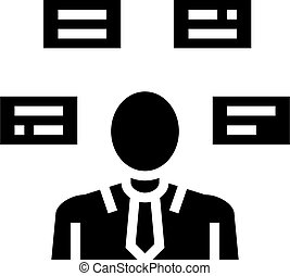human comprehends tasks glyph icon vector illustration - ...