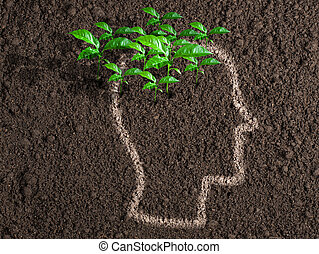 human, concept., idéias, iniciativa, brain., verde sai