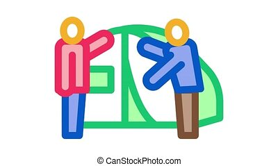 human construct tent Icon Animation. color human construct tent animated icon on white background