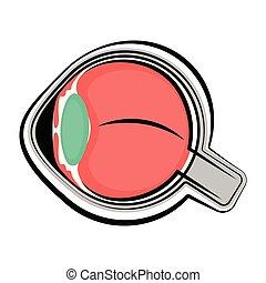 Human cut eye. Colored sketch