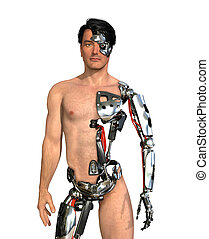 Human Cyborg - A man has had large areas of his body...