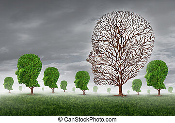 Human death and grief as loss of a loved one concept with a group of trees shaped as a head and one tree with no leaves as a metaphor for community support for greiving victims of disease and aging illness.