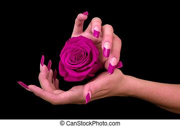 human, dedos, com, longo, unha