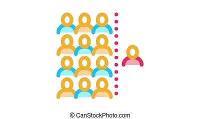 human dementia per population Icon Animation. color human dementia per population animated icon on white background