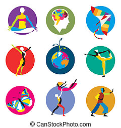 human development icons - Vector icons for human development...
