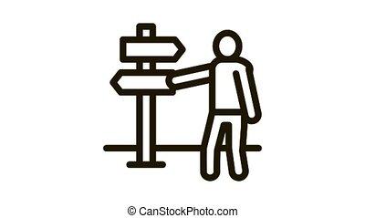 human direction pillar Icon Animation. black human direction pillar animated icon on white background