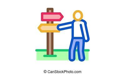 human direction pillar Icon Animation. color human direction pillar animated icon on white background